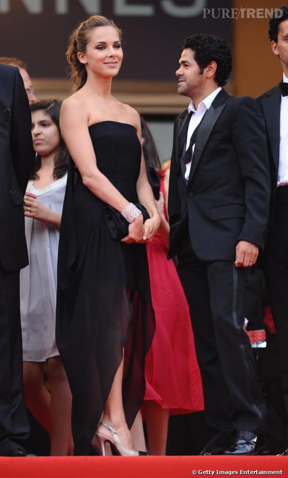 """La petite robe noire :  sérieuse sur les plateaux télé, Melissa sait devenir glamour au bon moment, comme ici lors de la projection du film """" Hors la loi""""  au festival de Cannes."""