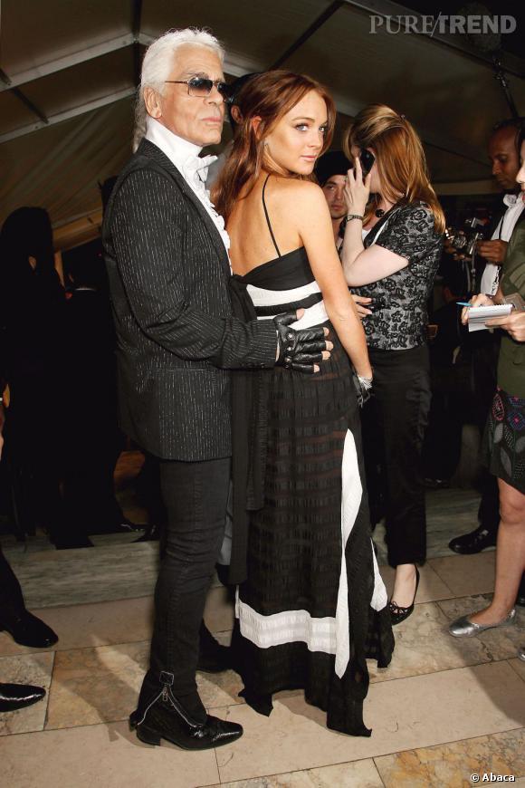 Lindsay Lohan et Karl Lagerfeld. C'était le bon temps, en 2006, lorsque la jeune starlette n'avait pas viré cleptomane et alcoolique.