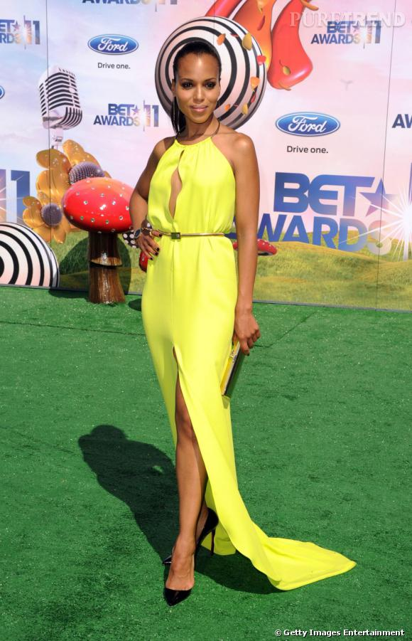 Kerry Washington annonce les premiers rayons de soleil avec sa jolie robe jaune, aux BET Awards 2011.