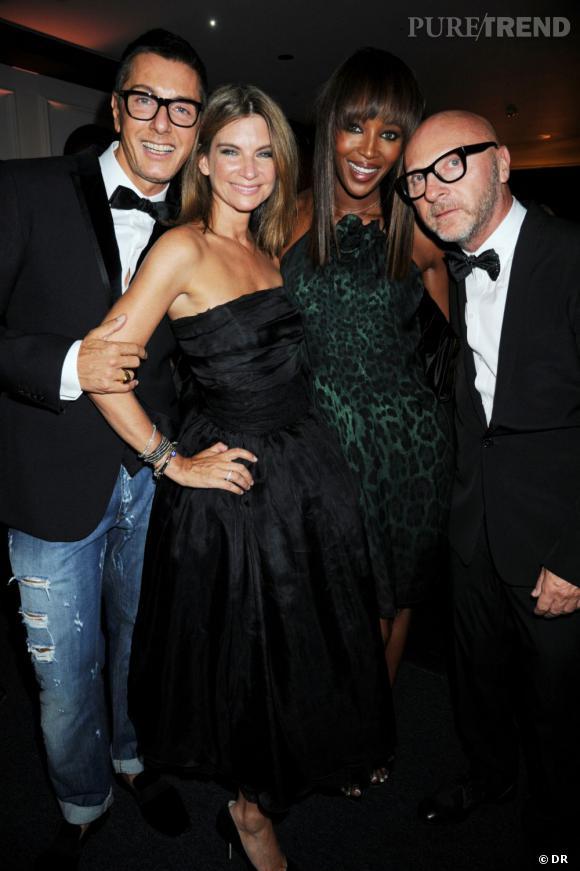 Domenico Dolce, Nathalie Massenet, Naomi Campbell et Stefano Gabbana à la soirée Net-à-Porter pour Dolce & Gabana.