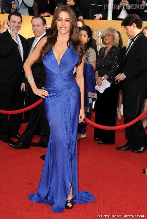 Sofia Vergara, ultra sexy en robe Roberto Cavalli saphir.