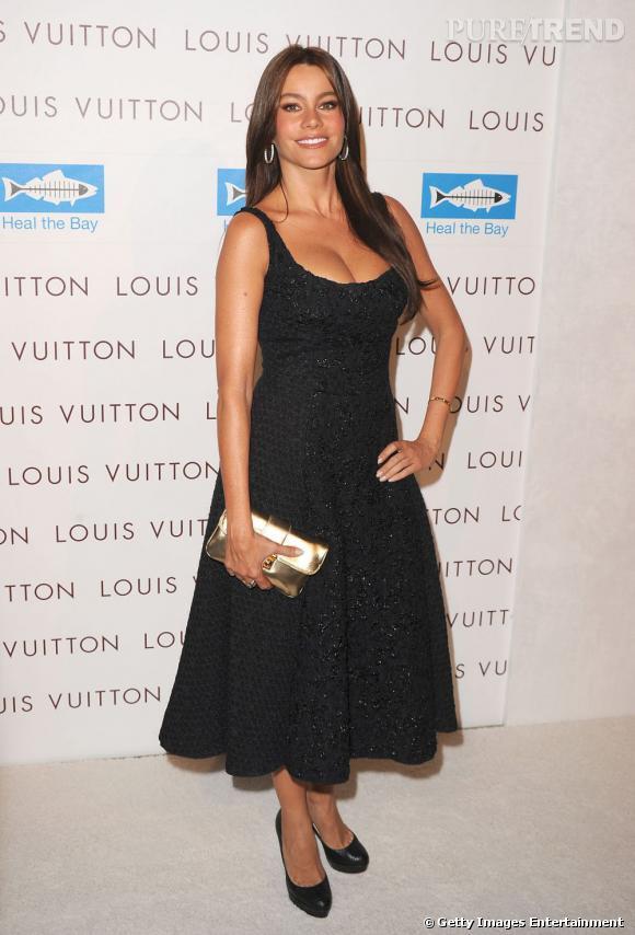 Sofia Vergara à une soirée Louis Vuitton honore la marque en portant une robe de la collection automne-hiver 2010/2011. Une coupe ballerine qui ravit la belle, juchée sur des Louboutin.