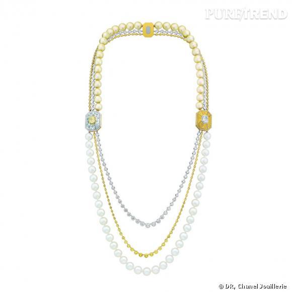 """Collier """" Soleil d'Automne """"  en or blanc et jaune, sertis d'un diamant jaune taille coussin, d'un diamant blanc taille coussin, 234 diamants taille rond, 71 diamants taille brillant, 434 diamants jaunes taille brillant, 37 perles blanches de culture, 32 perles gold de culture et nacre."""