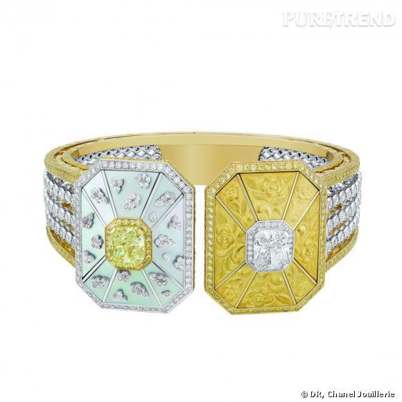 """Manchette """" Soleil d'Automne """"  en or blanc et jaune, sertis d'un diamant jaune taille coussin, d'un diamant blanc taille coussin, 328 diamants taille rond, 696 diamants jaunes taille brillant et nacre."""