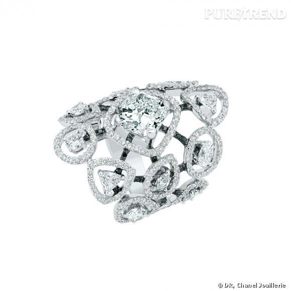 """Bague """" Cascade de Diamants """"  en or blanc, serti d'un diamant central taille coussin et 12 diamants taille fantaisie."""
