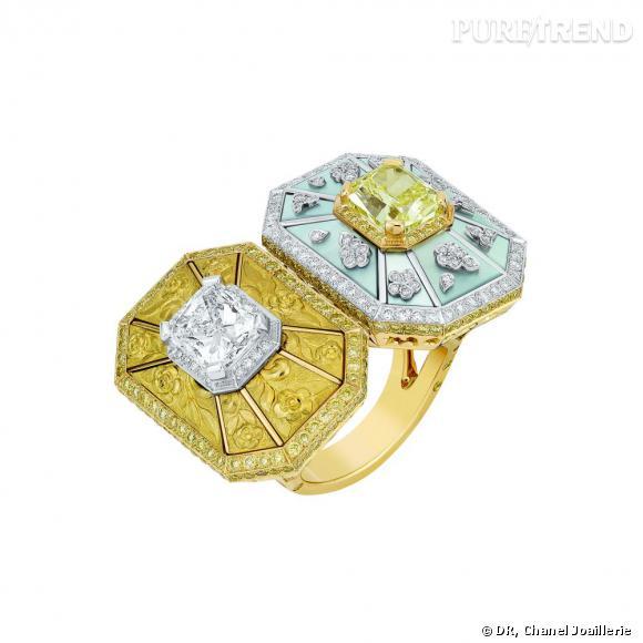 """Bague """" Soleil d'Automne """"  en or blanc et jaune, sertis d'un diamant jaune taille coussin, d'un diamant blanc taille coussin, diamants blancs et jaunes taille brillant et nacre."""