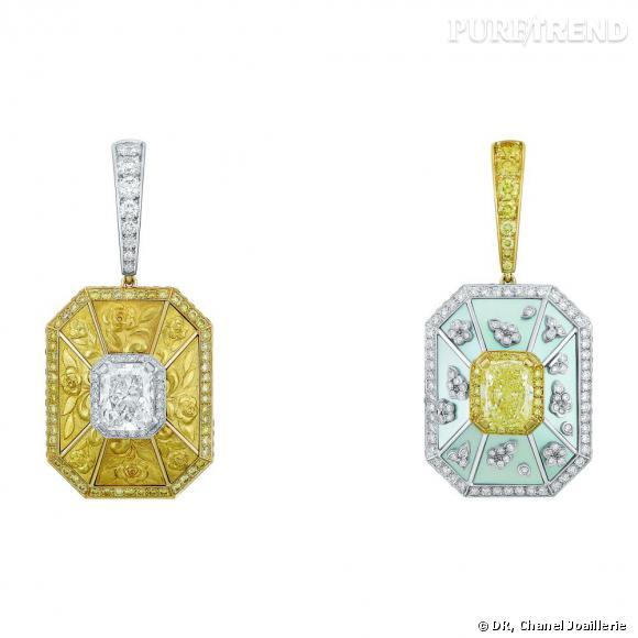 """Motifs d'oreilles """" Soleil d'Automne """"  en or blanc et jaune, serti d'un diamant jaune taille coussin, d'un diamant blanc taille coussin, diamants blancs et jaunes taille brillant et nacre."""