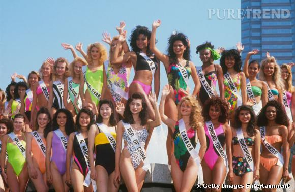Miss Univers au début des 90's, c'était du fluo à gogo.