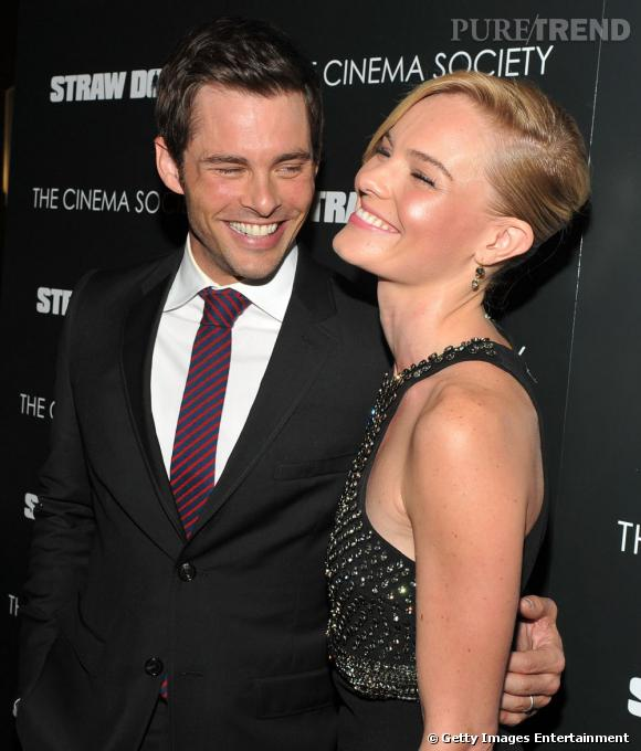 """Kate Bosworth et James Marsden à la projection de """"Straw Dogs"""" à New York."""