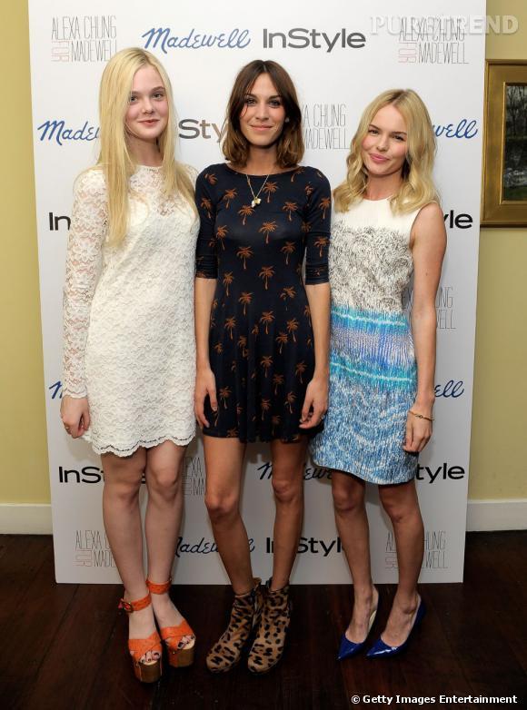 Alexa Chung entourée des starlettes Dakota Fanning et Kate Bosworth.