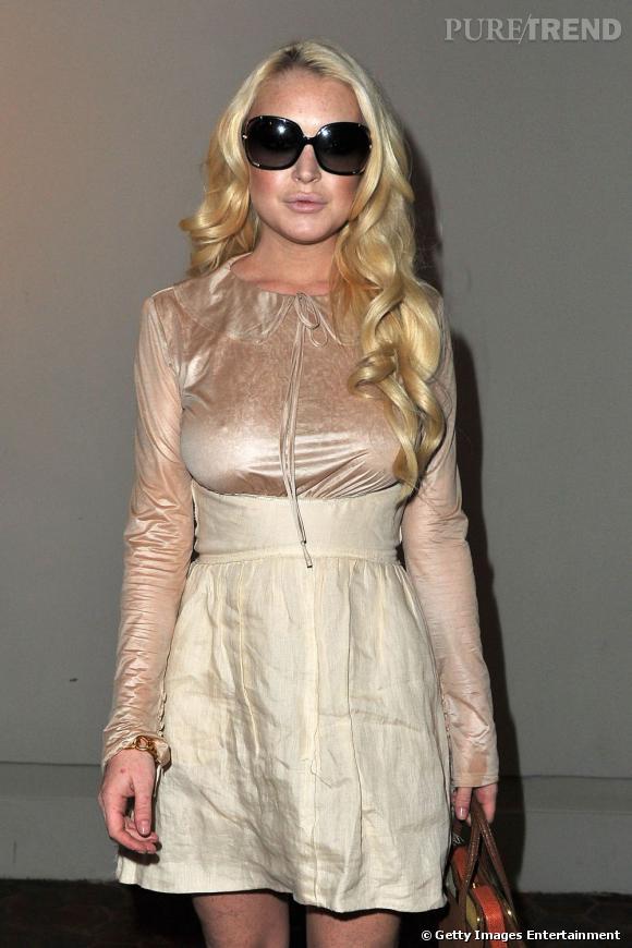 Lindsay Lohan au défilé Dw par Kanye West à Paris.