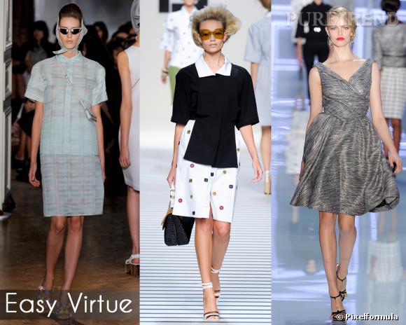 Easy Virtue       La blonde hitchcockienne fait des émules pour 2012. Port altier, beauté glaciale, et garde-robe fifties, elle booste ses basiques à grand coup de transparence, de matières techniques et de coupes résolument modernes.       Défilés Rochas, Fendi et Christian Dior.
