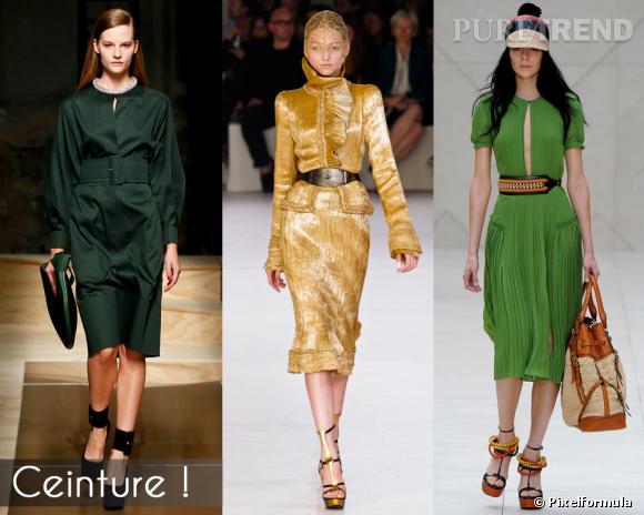 Ceinture !       Ceinturer sa robe ou sa veste, jusque là, rien de nouveau sous le soleil, mais on remarque que la taille prendra de la hauteur pour l'été 2012.       Défilés Celine, Alexandet McQueen et Burberry Prorsum.