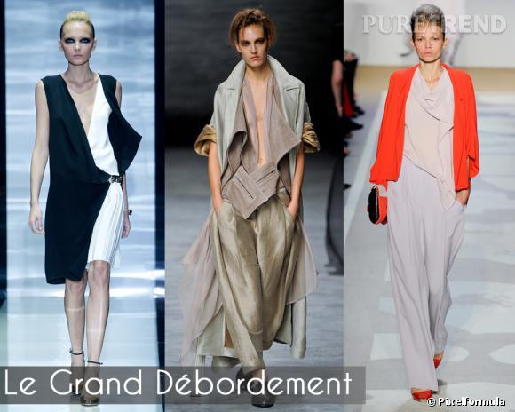 """Le Grand Débordement       Des vêtements comme inachevés, aux pans ouverts, des silhouettes asymétriques et des effets de superposition : contrairement aux apparences, le style """"débraillé chic"""" est une science exacte.       Défilés Gucci, Haider Ackermann et Diane von Furstenberg."""