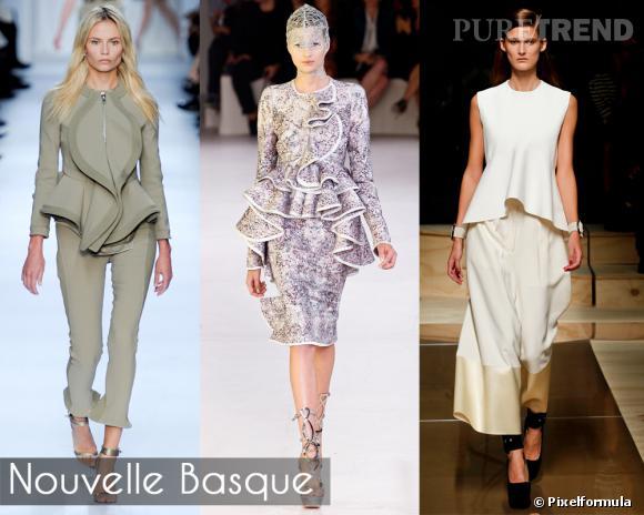 """Nouvelle Basque       On n'a pas trouvé mieux pour sublimer la taille et sculpter la silhouette : la basque. Longtemps réservée aux pièces Haute Couture, elle se démocratise, et s'offre une version """"froufroutante"""", 3D, et volantée pour l'été.       Défilés Givenchy, Alexander McQueen et Celine."""