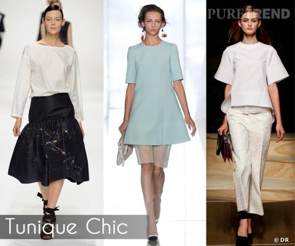 Tunique Chic       Elle est partout, dans un registre plutôt minimaliste : la tunique. De préférence à manches, sans col et ample, elle s'offre en version courte aussi bien que mi-cuisses.       Défilés Dries van Noten, Celine et Marni.