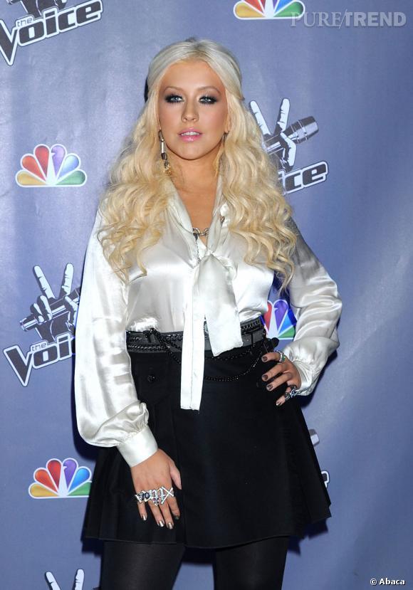 """Christina Aguilera lors de la présentation presse de la nouvelle émission """"The Voice"""" de NBC, à Los Angeles."""