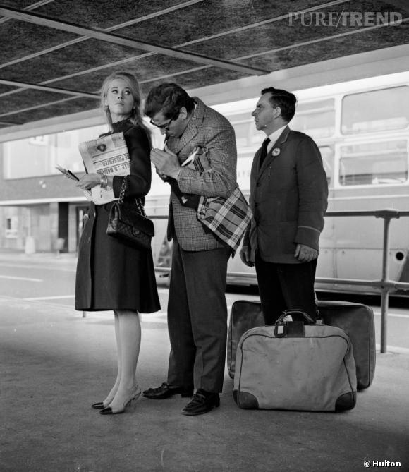 """Jane Fonda, 2.55 au bras, à l'apogée de son style sur le tournage de """"La curée""""."""