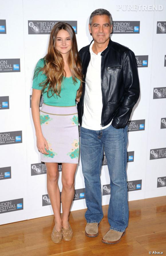 """Shailene et son """"pote"""" George Clooney. Ils seront à l'affiche de """"The Descendants"""", sur nos écrans fin janvier 2012."""