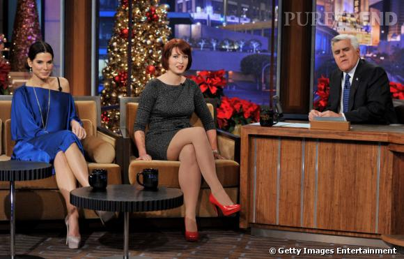 Sandra Bullock et Diablo Cody sur le plateau du Tonight Show With Jay Leno, à Burbank en Califirnie.