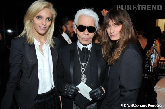 Anja Rubik, Karl Lagerfeld, Caroline de Maigret au dîner de lancement des nouvelles lignes de Karl Lagerfeld : KARL et Karl Lagerfeld Paris.