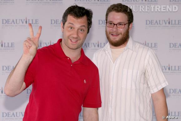 Judd Apatow et l'un de ses acteur fétiche : Seth Rogen. Les deux hommes s'amusent à faire les 400 coups.
