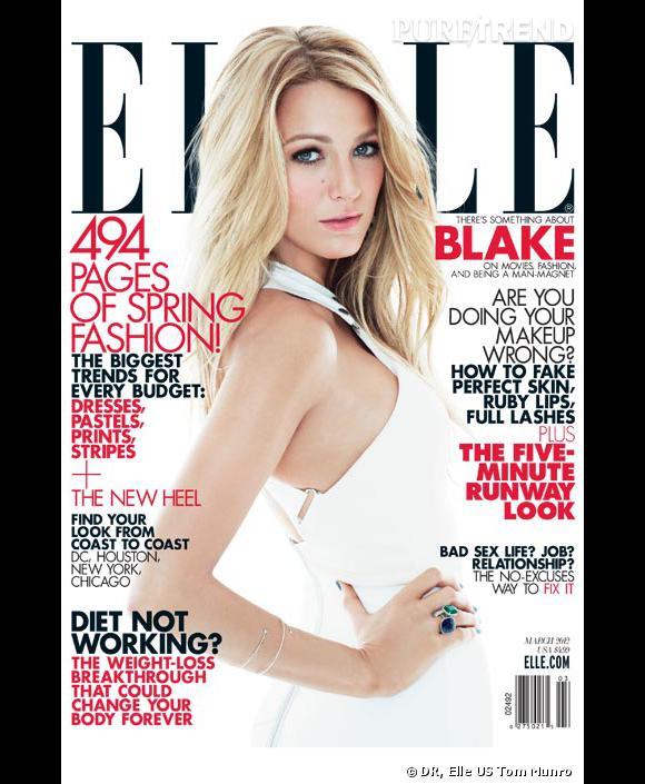 Blake Lively se prête au jeu de la séduction pour le numéro de mars 2012 du magazine Elle Us.