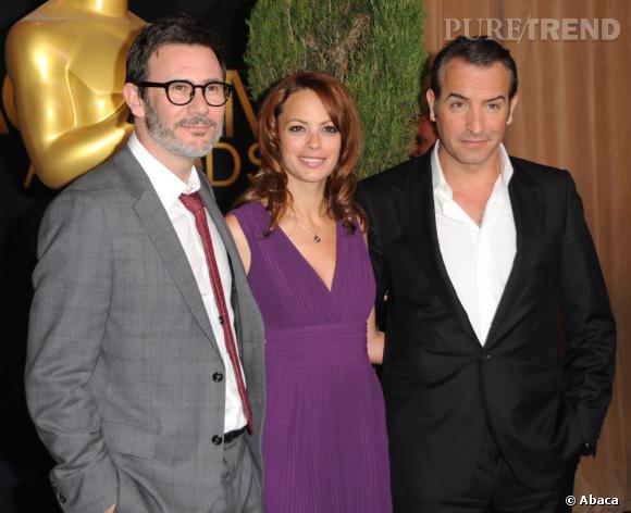 """Bérénice Bejo, Jean Dujardin et Michel Hazanavicius nominés pour """"The Artist"""" étaient bien évidemment au rendez-vous. L'actrice mise une nouvelle fois sur une création Elie Saab pour briller."""