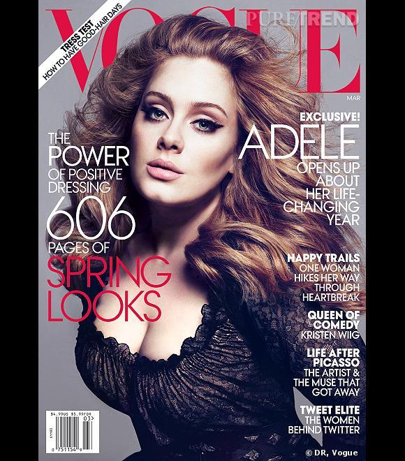 Adele fait la couverture de Vogue US pour le mois de mars 2012.