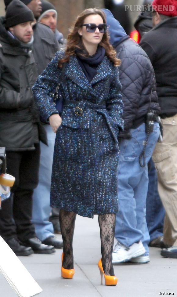 "Leighton Meester sur le tournage de la série ""Gossip Girl"" au coeur de Manhattan."