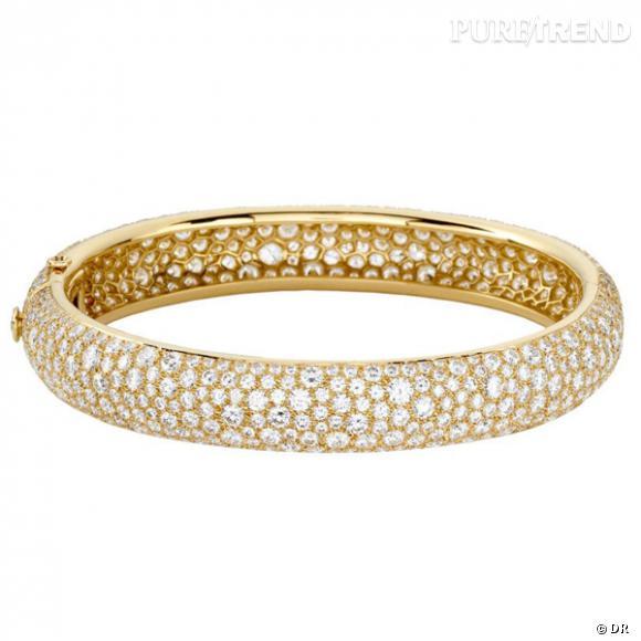 """Bracelet """"Galuchat"""" en or jaune et diamants."""