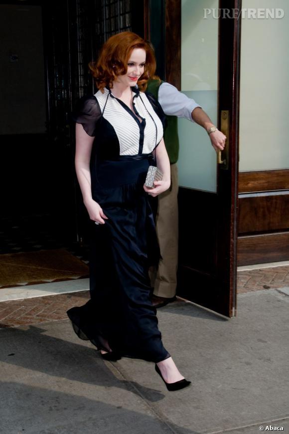 Christina Hendricks à la sortie de son hôtel à Manhattan.
