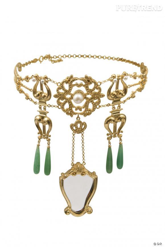 """""""A VANITAS NECKLACE"""", collier plaqué or et argent, gouttes d'aventurine et perles."""