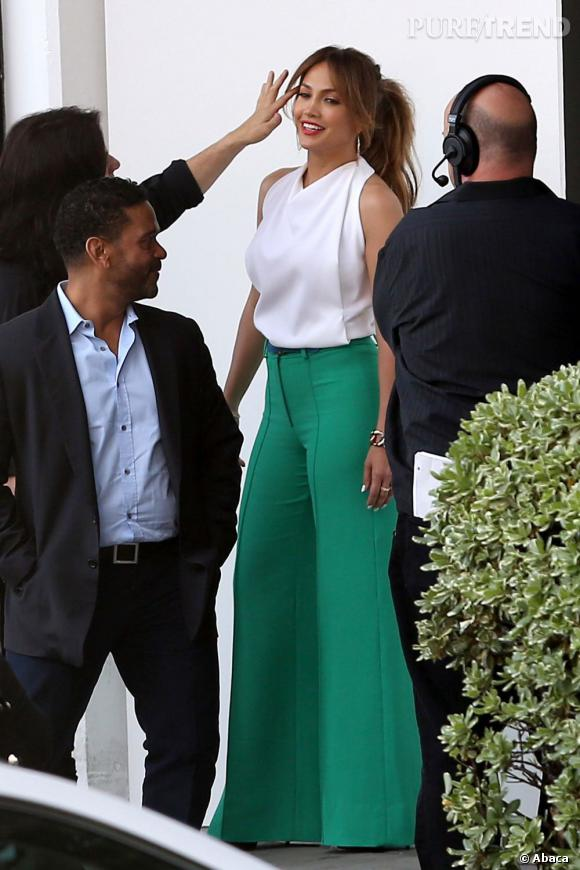 """Jennifer Lopez sur le tournage d'""""American Idol"""" à Los Angeles."""