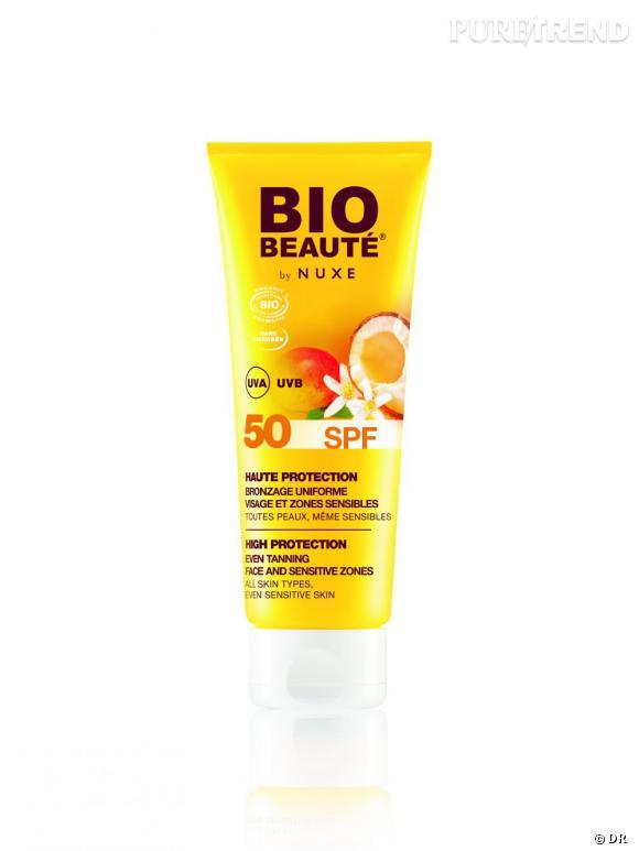 Dans mon vanity spécial Cannes : Haute Protection SPF 50 Visage et Zones Sensibles, Bio Beauté by Nuxe, 14,90 euros (50 ml)