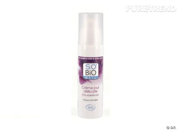 Dans mon vanity bio :  Crème jour délicate à la violette, So'Bio Etic, 11,40 €