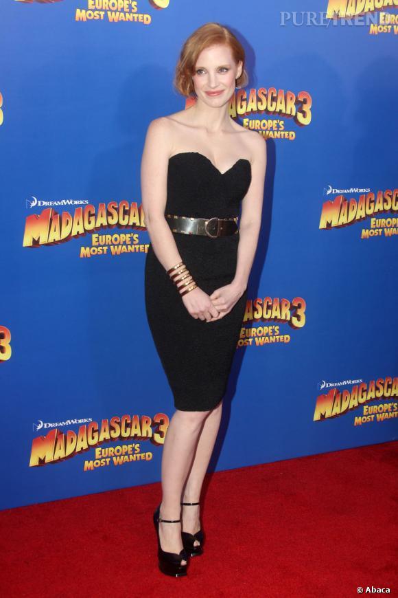 """Jessica Chastain lors de la première de """"Madagascar 3"""" à New York."""