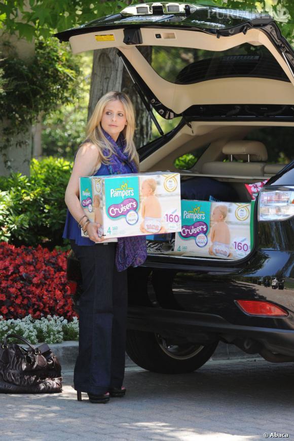 Une carrière au point mort et un deuxième enfant en route, Sarah Michelle Gellar s'accomplit dans l'achat massif de couches pour bébés.