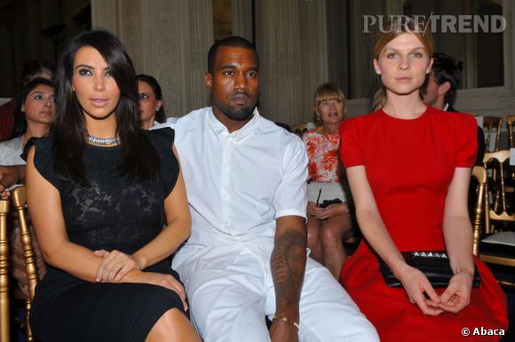 Kim Kardashian, Kanye West et Clémence Poesy front row au défilé Valentino Haute Couture Automn-Hiver 2012/2013 à Paris.
