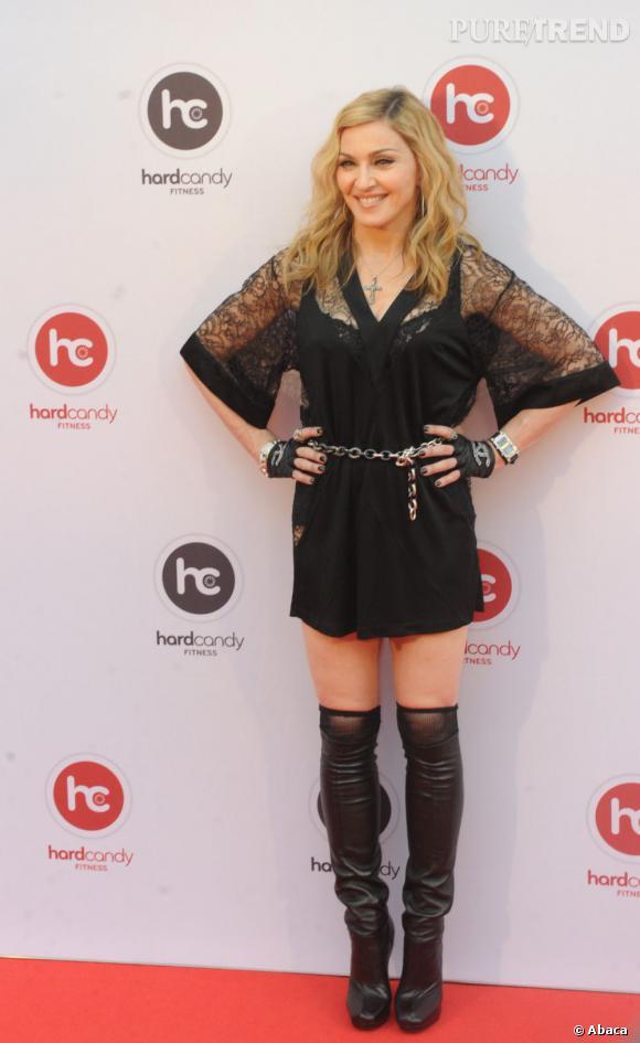 Madonna à l'occasion de l'ouverture du centre Hard Candy Fitness, le 6 août dernier à Moscou.
