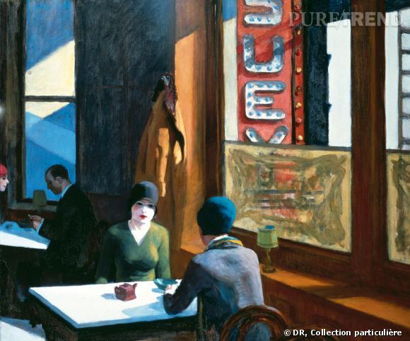 """Edward Hopper     Du 10 octobre 2012 au 28 janvier 2013     Grand Palais   (Edward Hopper - """"Chop suey"""". 1929 Huile sur toile, 81.3 x 96.5 cm. Collection de Barney A. Ebsworth)"""