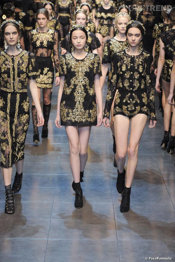 La tendance baroque vue sur les podiums Automne-Hiver 2012/2013 :  Défilé Dolce & Gabbana