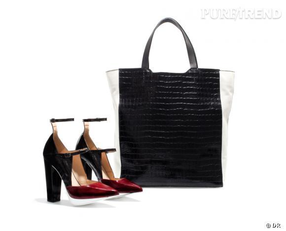 Edition limitée Zara pour la Fashion Week Escarpins et cabas Basic, 79.95 et 169 €