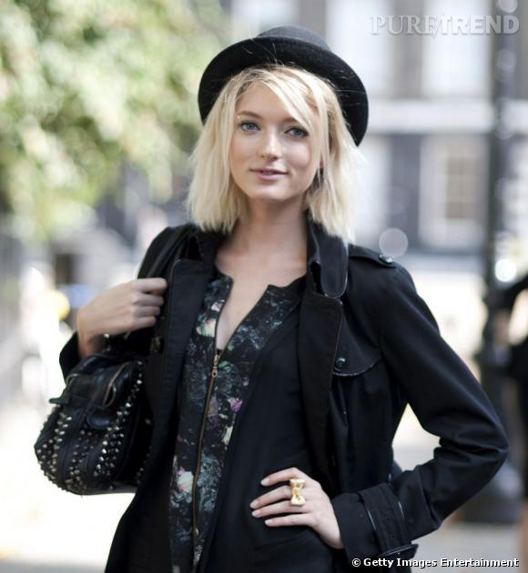 Les street styles beauté de la Fashion Week de Londres     Carré court et effilé, trait de crayon khôl, chapeau melon : un vrai beauty look de londonnienne.