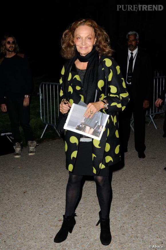 Diane von Furstenberg au défilé Saint Laurent Paris.