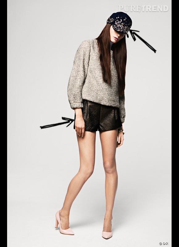 Comment porter le chapeau cet hiver ? Comme chez H&M on adopte la casquette précieuse rehaussée de cristaux, à combiner avec un short irisé c'est encore mieux. Collection Automne-Hiver 2012/2013