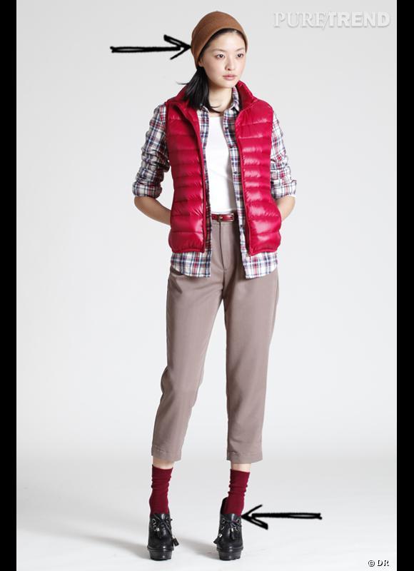 Comment porter le chapeau cet hiver ?      Comme chez Uniqlo, on mixe les style en combinant bonnet en laine et talons, chemise à carreaux et pantalon coupe cigarette chic.      Collection Automne-Hiver 2012/2013