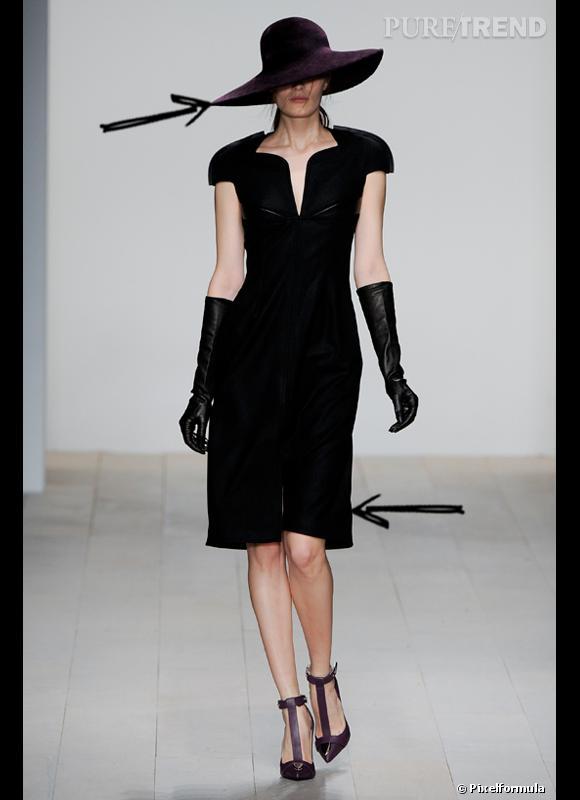 Comment porter le chapeau cet hiver ?      Comme chez Marios Schwab on ose le chapeau XXL avec sa petite robe noire, histoire d'ajouter du mystère à l'allure glamour en se cachant derrière.     Défilé Automne-Hiver 2012/2013