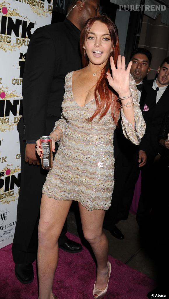 Lindsay Lohan à la soirée Mr. Pink Ginger Drink.