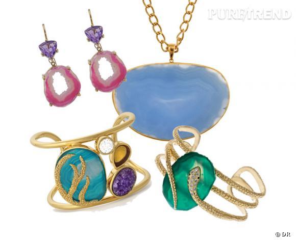 Isharya :Boucles d'oreilles en améthyste, 234€, manchette trio de pierres, 284€, manchette serpent, 152€, collier 110€. Disponibles sur Pinkheater.com